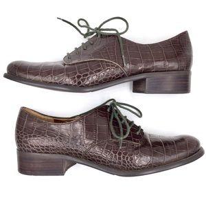 Circa Joan & David crocodile print leather Oxfords